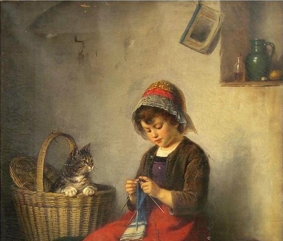 Rudolf Epp, Girl Knitting with her Cat