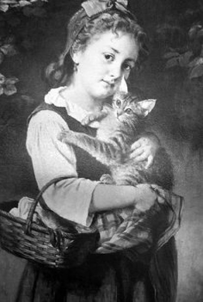 Rudolf Epp, girl with a basket holding a cat