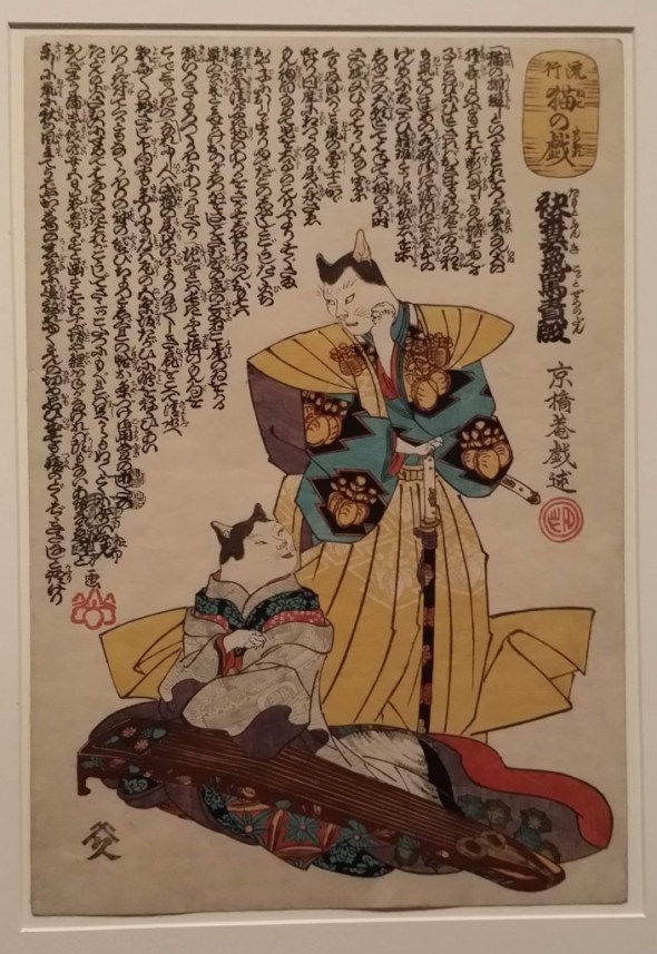 The Scene of Torture by Scolding from the play The Stinky Sleeve from the series Fashionable Cat Frolics. Print by Utagawa Kuniyoshi.