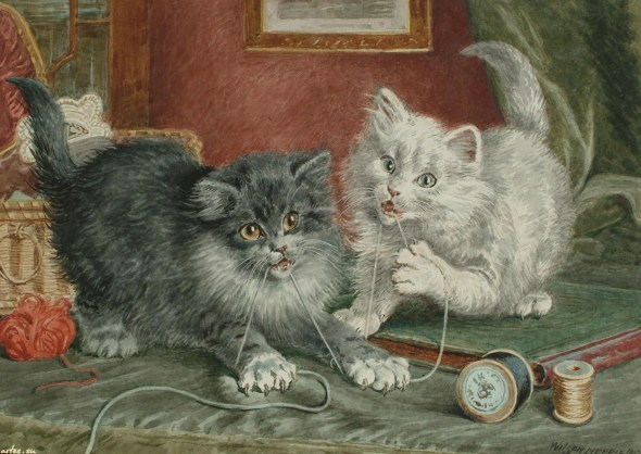 Two cats playing with thread, Wilson Hepple