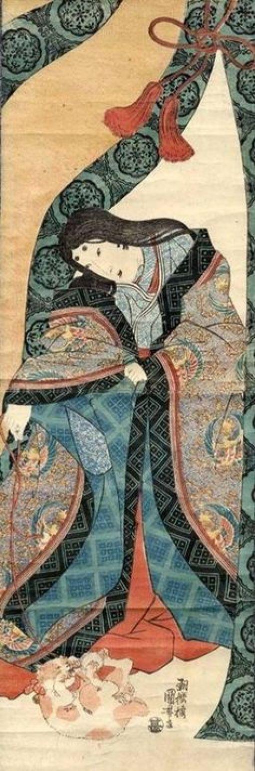Utagawa Kuniyoshi, The third princess and cat
