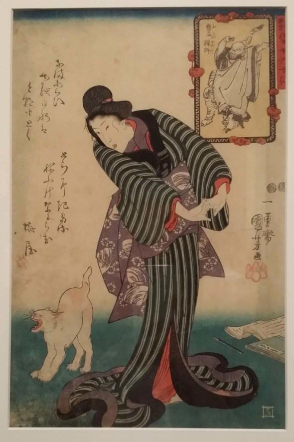 Zen Priest Bukan with cat from the series Sixteen Female Sennin Charming Creatures. Print by Utagawa Kuniyoshi