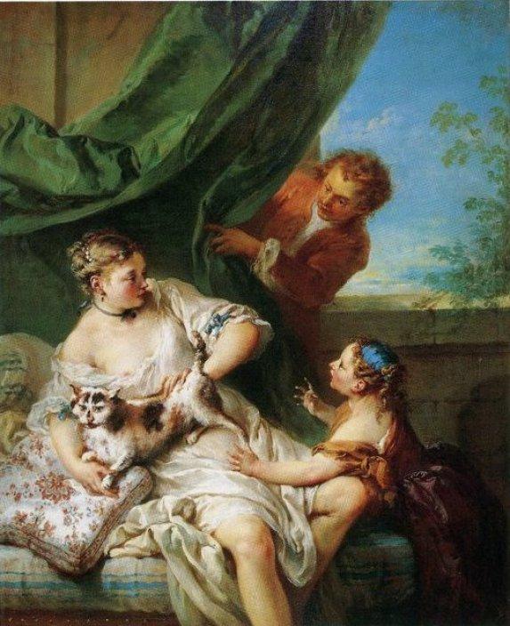 Francois Boucher, La Surprise, La Femme au chat, 1730, Woman with a Cat