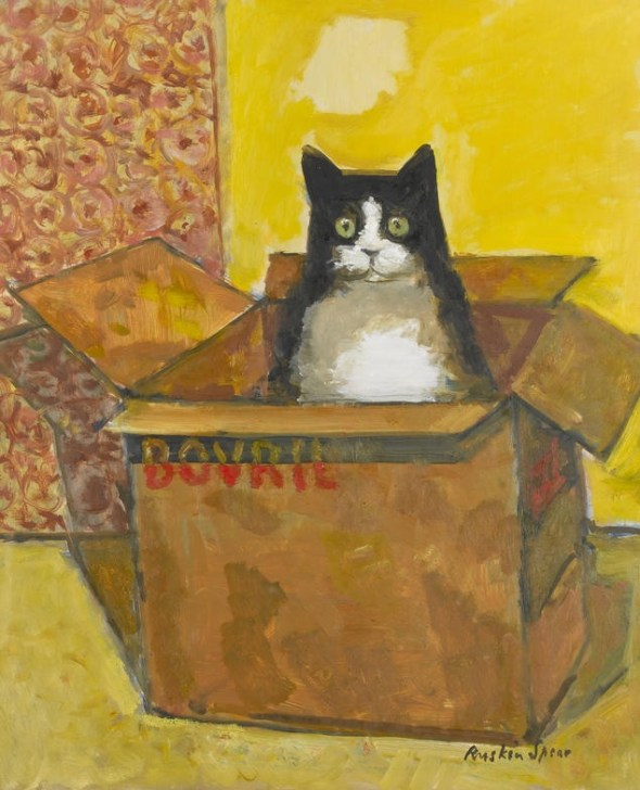 Ruskin Spear R.A. (British, 1911-1990) - Cat in a Bovril Box