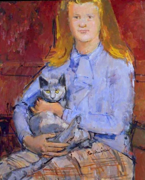 Ruskin Spear RA (1911 - 1990) - Girl with Cat - Oil on board