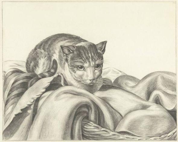Cat on a Blanket, Jean Bernard 1802 Katze