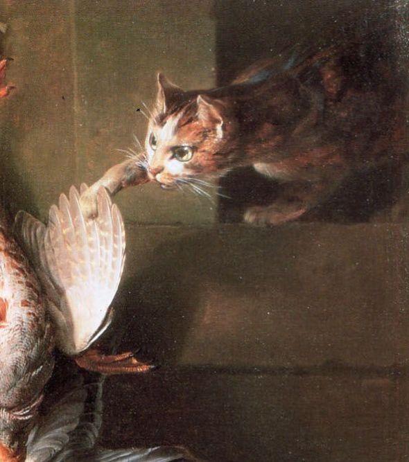 Alexandre-Francois Desportes Cat and chicken