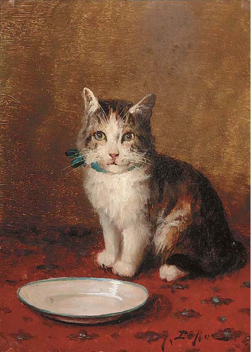 Jules Gustave Le Roy, A Cat with a Bowl of Milk