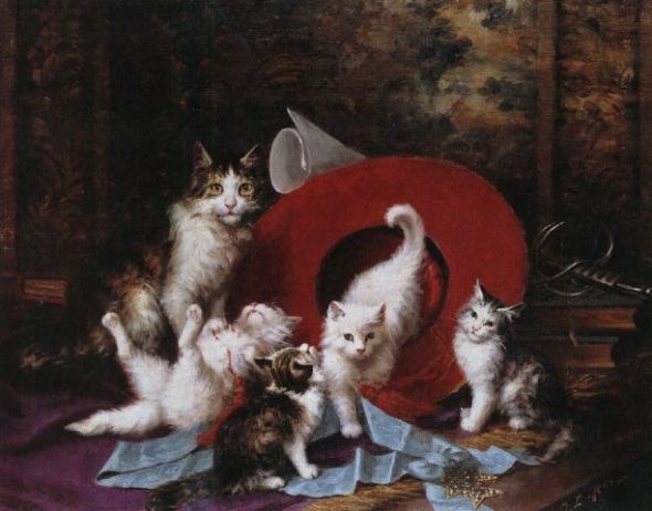 Jules Le Roy, Cat and Kittens playing with a Hat