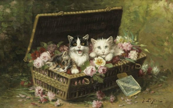Jules Gustave Le Roy, Kittens in a Basket of Flowers