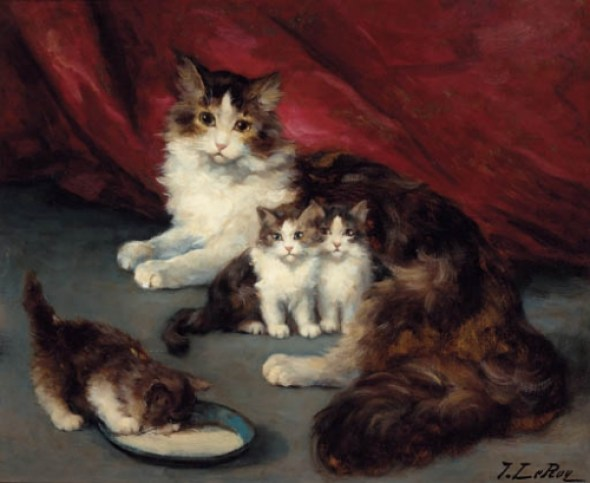 Jules Le Roy, Mother and Three Kittens