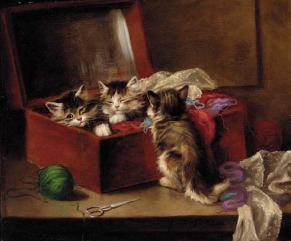 Jules Le Roy, Three Kittens in a Sewing Box