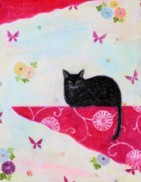 Kanoko Takeuchi, Black cat on pink
