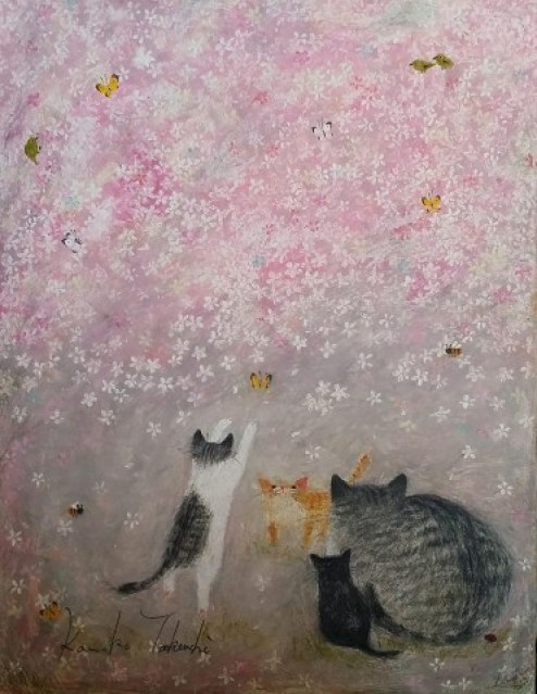 Kanoko Takeuchi, Cat and Kitten on purple