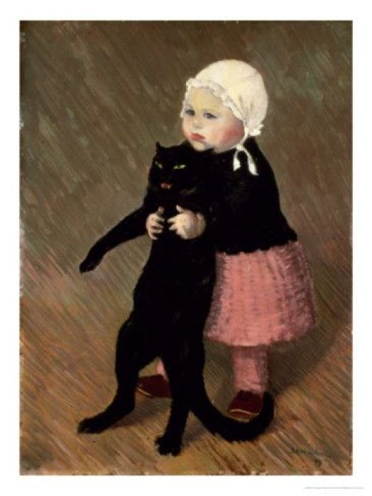 A Small Girl with a Cat, 1889 by Théophile-Alexandre Steinlen