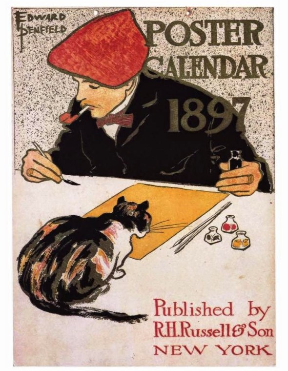 theophile Steinlen Cat poster with artist 1897 art nouveau