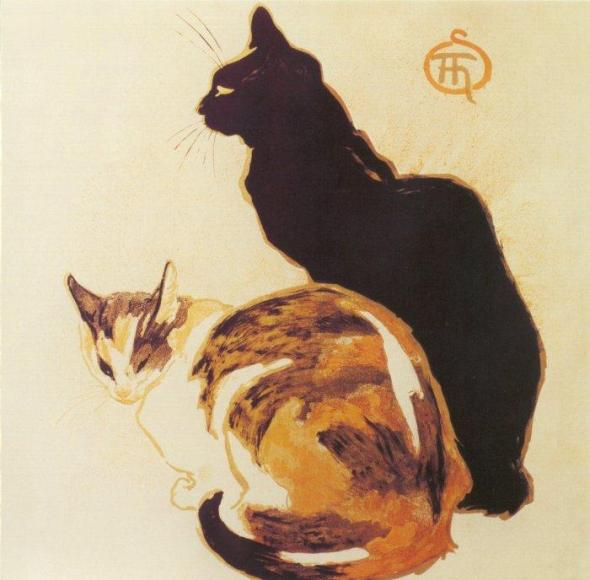 Black and Calico Cats, Theophile-Alexandre Steinlen