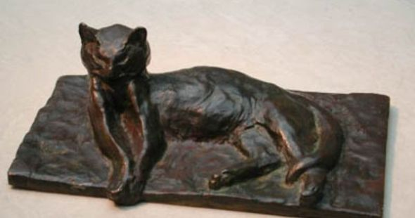 Cat Lying Down Statue, Theophile Steinlen