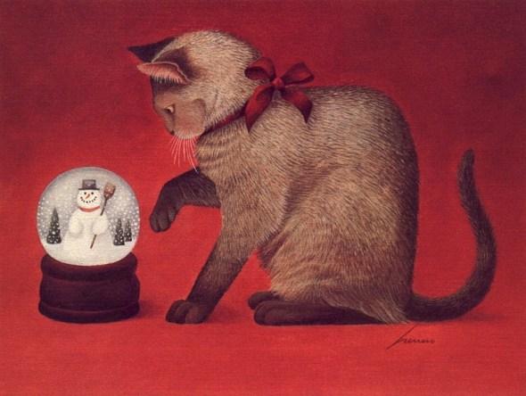 Cat and Snowglobe Lowell Herrero