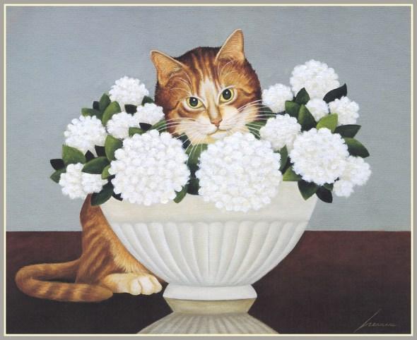 Cat and White Flowers, Lowell Herrero