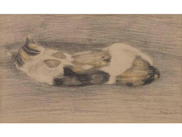 Chatte Tricolore Allongee, Theophile Steinlen