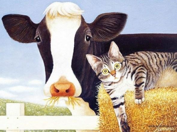 Kitten and Cow, Lowell Herrero