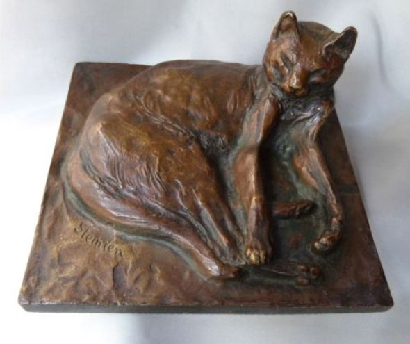 Reclining cat Statue, Theophile Steinlen