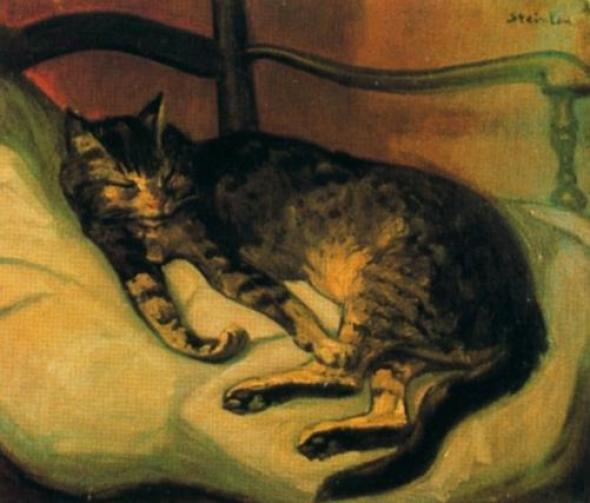 Sleeping cat in a chair, Theophile Steinlen