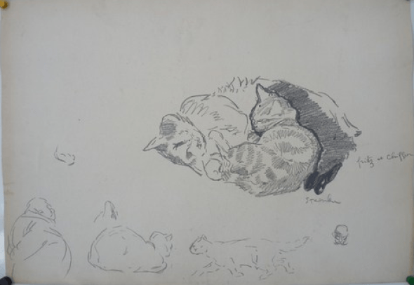 Study of cats -- Fritz et Chiffon, Theophile Steinlen