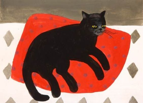 Black Cat on Cushion, Mary Fedden