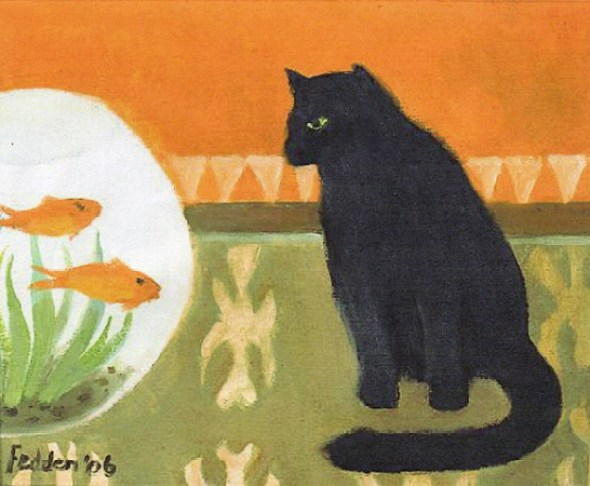 Black cat watching fish, Mary Fedden