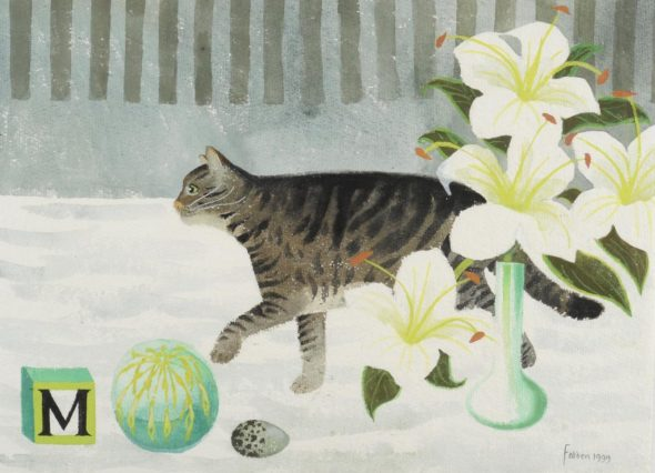 Mary Fedden, Cat and Flowers