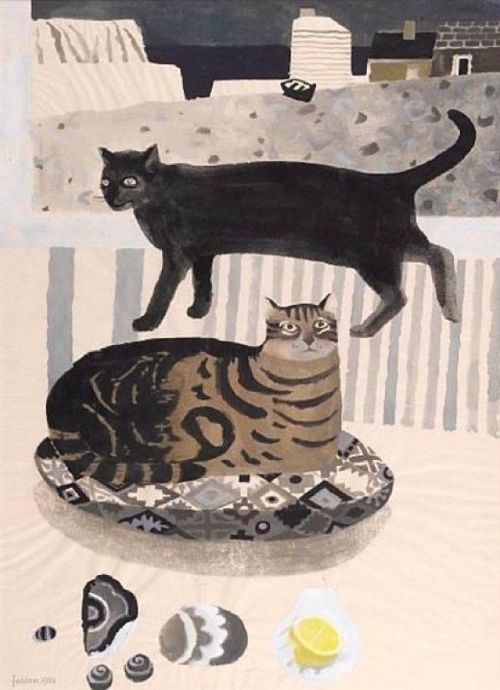 Mary Fedden - Cats by the sea, 1981, pencil