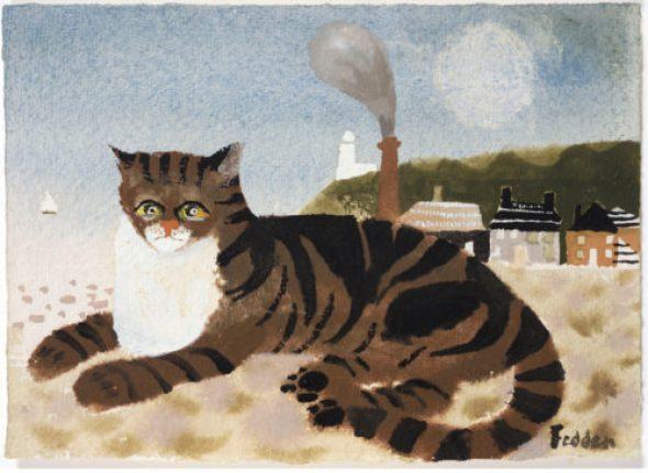 Mary Fedden, Tabby Cat on the Beach