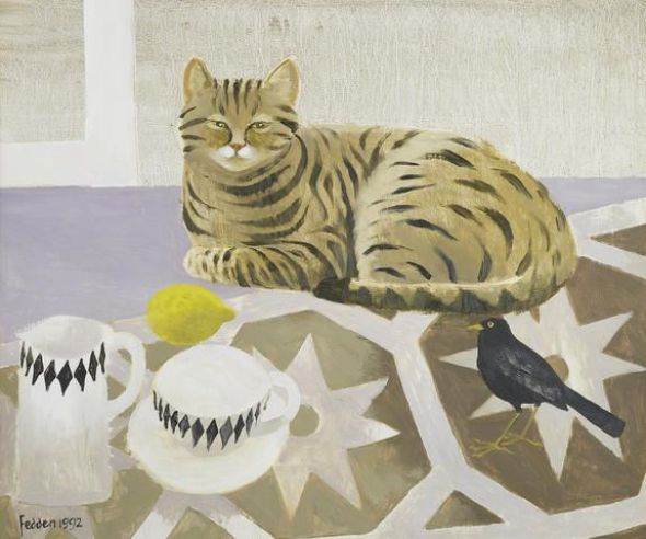 Striped Cat and Black Bird, Mary Fedden