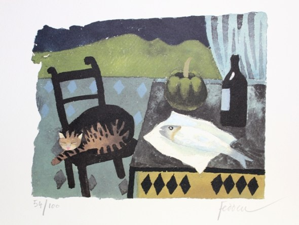 Tabby Cat and Fish, Mary Fedden