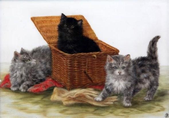 Black Kitten in a Basket, Bessie Bamber