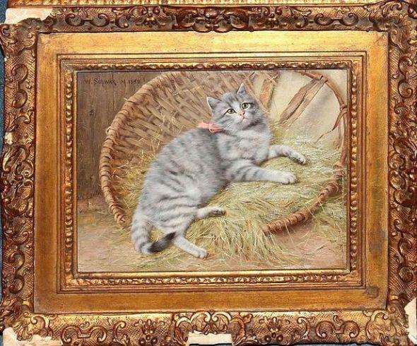 Cat in a Basket, Wilhelm Schwar