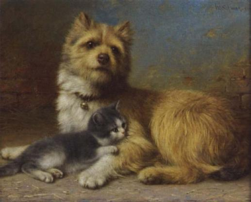 Dog and Kitten, Wilhelm Schwar