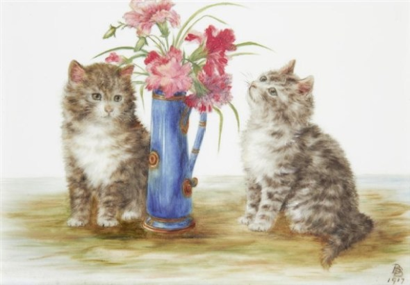 Flowers and Two Kittens, Bessie Bamber
