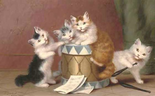 Sophie Sperlich, Four Kittens and a Drum