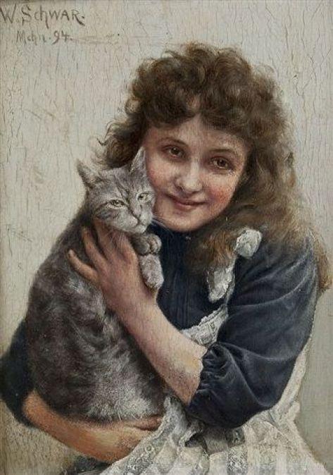 Girl with a Kitten, Wilhelm Schwar