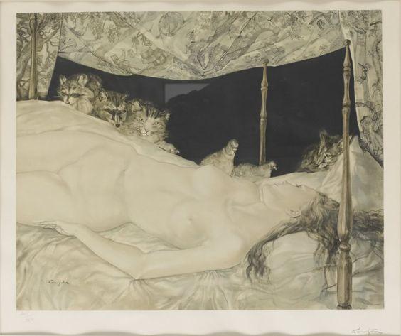 Nude Woman with Cats, Foujita
