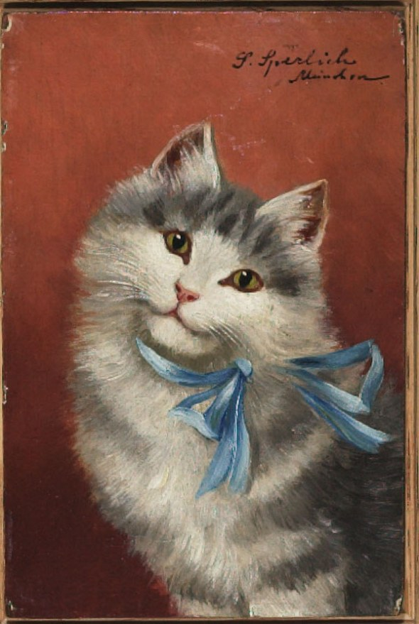 Sophie Sperlich, White and Grey Cat with Blue Ribbon