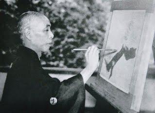 Takeuchi Seiho photo painting at easel