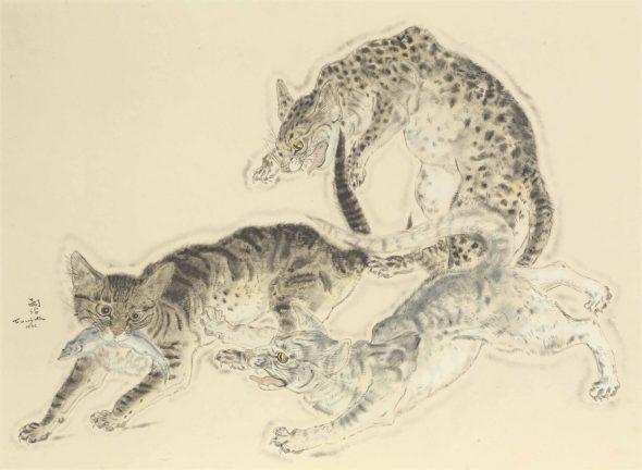 Three Cats Fighting over a Fish, 1932, Tsugouharu Foujita