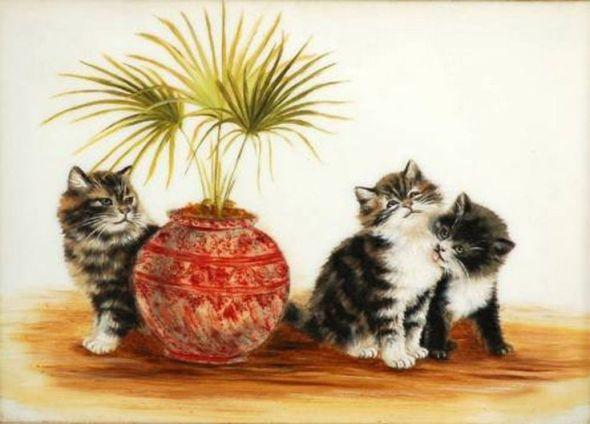 Three Kittens and a Fern, Bessie Bamber