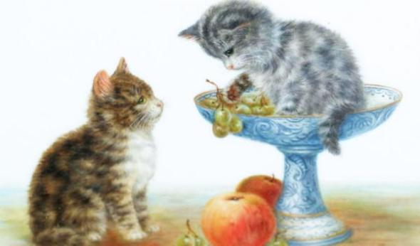 Two Kittens and Fruit, Bessie Bamber