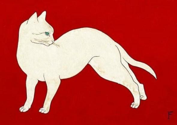 White cat on Red Background, 1926 Foujita