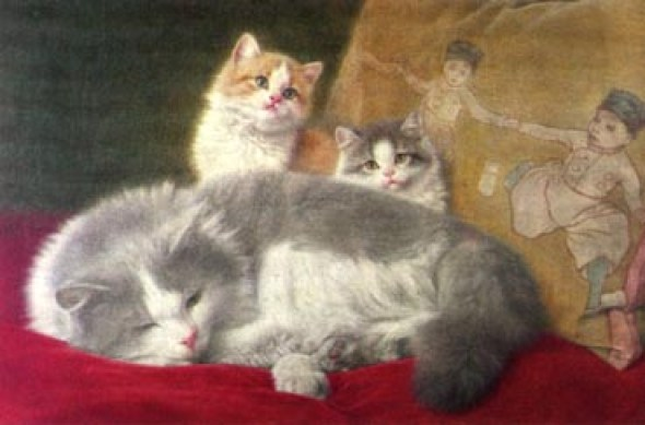 Wilhelm Schwar, Mother and Two Kittens